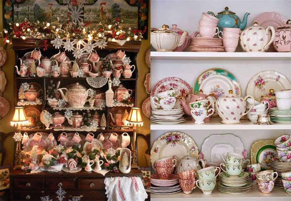 Викторианская посуда как элемент декора идеи дизайна интерьера