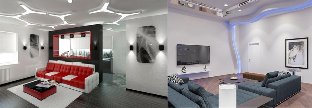 Стильные космические потолки с красивой подсветкой Гостиная в стиле хай тек