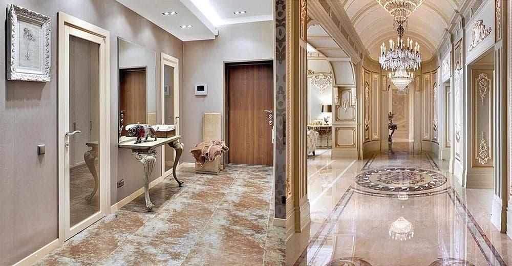 Потолок прихожей в классическом стиле нетривиальный дизайн вдохновленный античностью стили интерьеров прихожих
