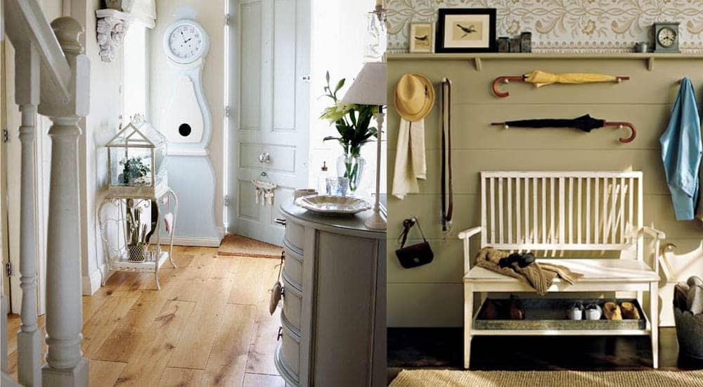Прекрасная мебель как декоративный и функциональный элемент в прихожей в стиле прованс идеи дизайна прихожей