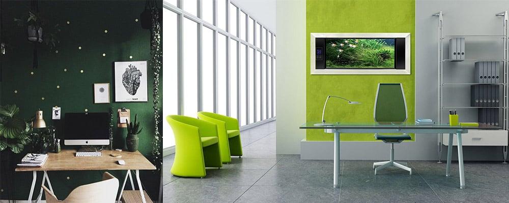 Природные сочетания зеленого с песочным и серебристым Дизайн интерьера офиса