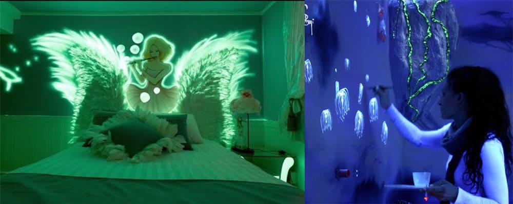 Роспись белых стен светящимися красками интерьер спальной комнаты