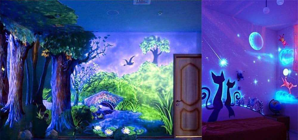 Роспись флуоресцентными красками отделка сказочной детской комнаты дизайн детской комнаты