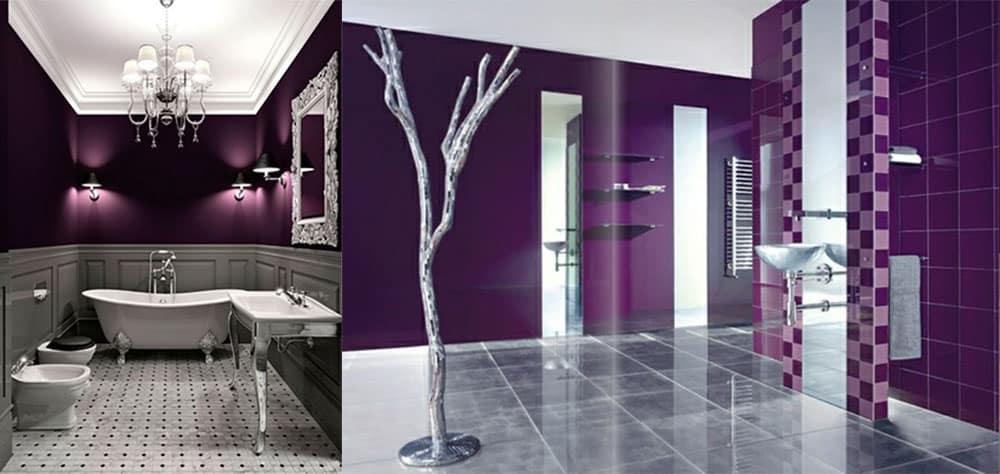 Серебряный и фиолетовый серый и фиолетовый Фиолетовая ванная