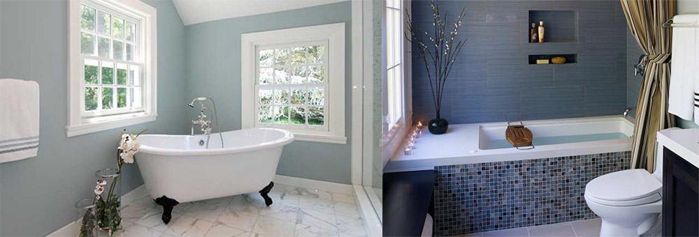 Серо-синяя ванная интересный оттенок Синяя ванная