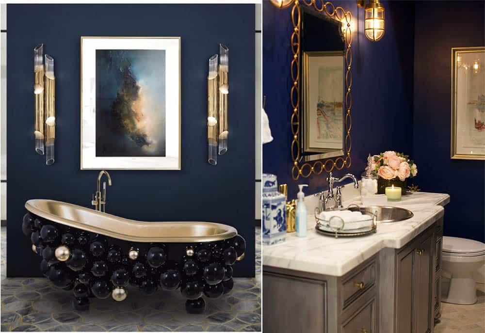 Синий и золотистый трендовая комбинация для ванной Интерьер ванной комнаты