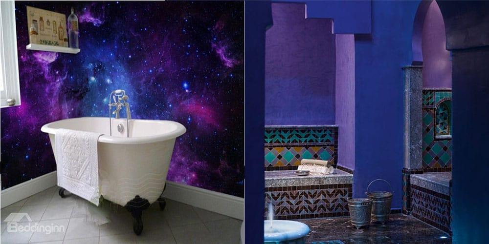Синий и фиолетовый цвета в дизайне ванной комнаты интерьер ванной комнаты