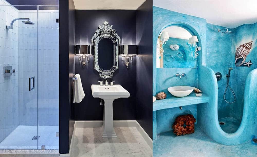 Модные варианты различных стилей и оттенков Синяя ванная