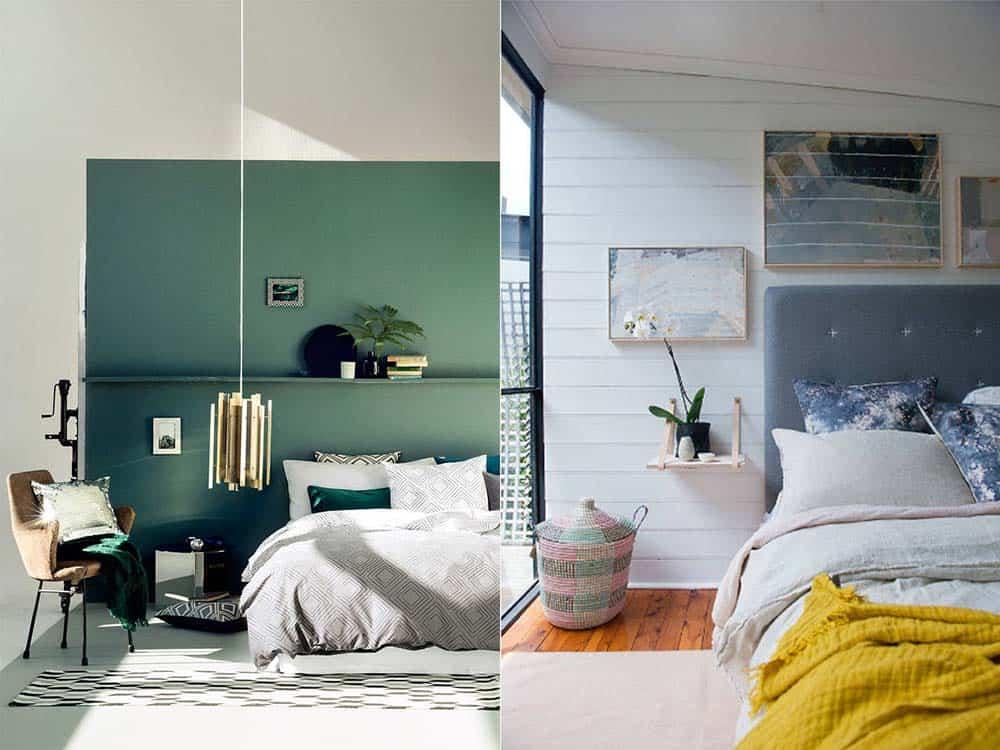 Скандинавский стиль сочетание белого и яркого Белая спальня