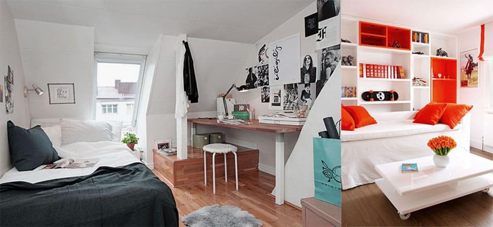 Скандинавский стиль комнаты подростка базовый цвет белый Комната подростка 2018