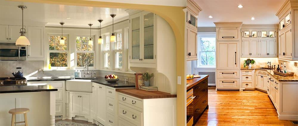 Дизайн угловых кухонь 2018 со скошенным смежным углом варианты оформления
