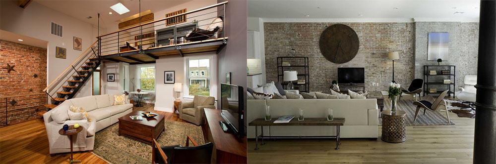 Смешанная отделка стен для индустриального дизайна гостиной Гостиная в стиле лофт