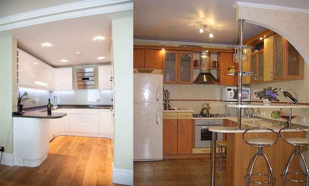 Совмещение угловой кухни с баром варианты идеи интерьера кухни