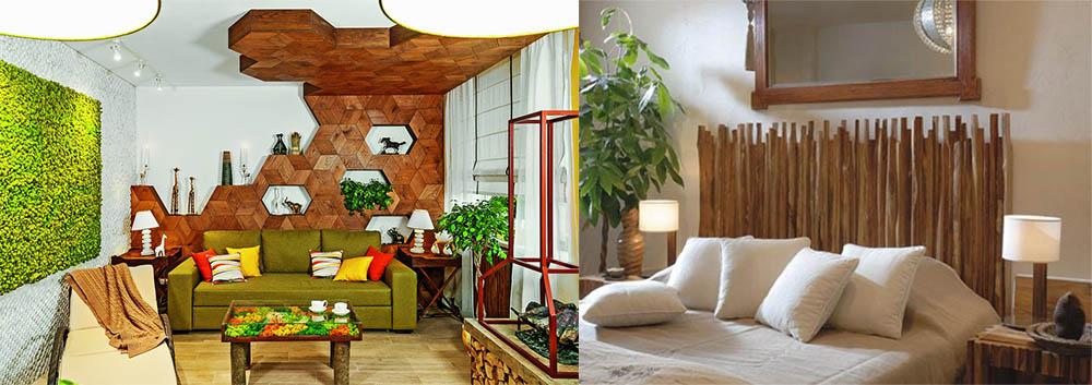 Спокойные цвета с яркими акцентами Экостиль в интерьере -экостиль в интерьере квартиры фото