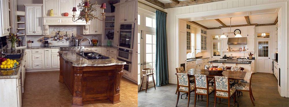 Столовая зона и остров Кухня в английском стиле