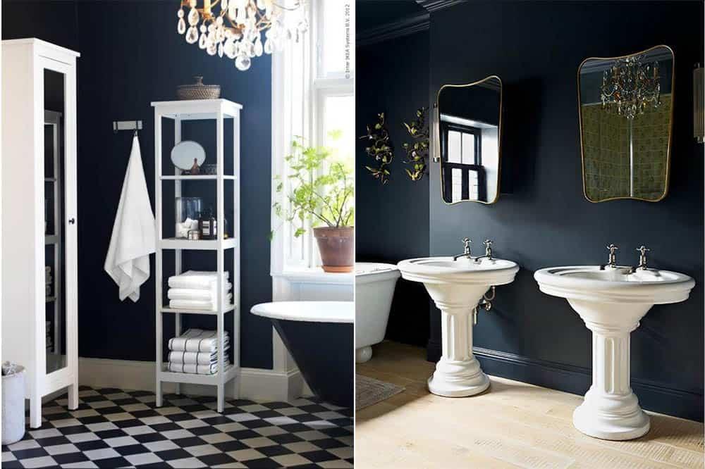 Темно синий вариант ванной Синяя ванная