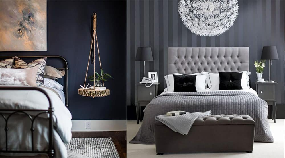 Темно синяя спальня актуальные сочетания Спальня 2018