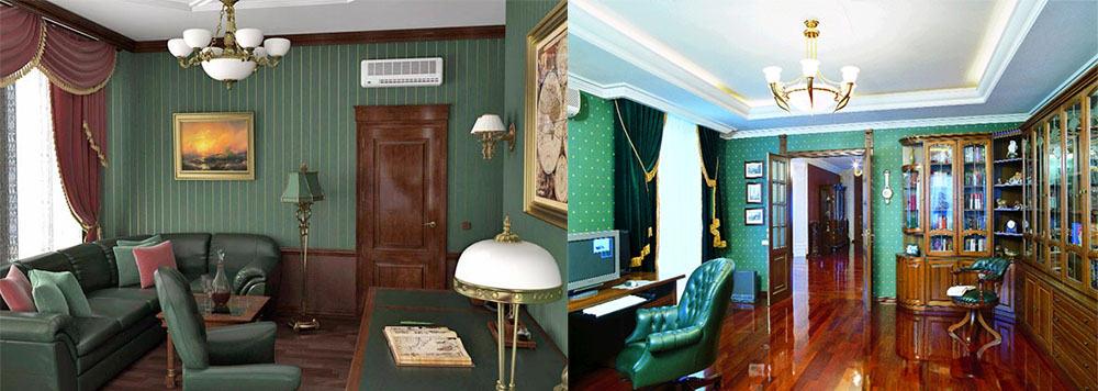 Темные и средние оттенки дерева в дизайне зеленого офиса Дизайн интерьера офиса