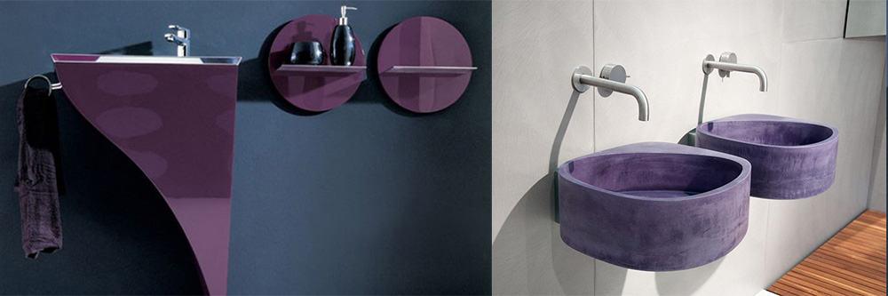 Трендовая стильная фиолетовая сантехника идеи интерьера ванной комнаты