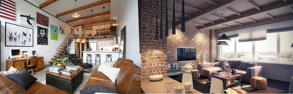 Тумбочка вместо стола в гостиной в стиле лофт дизайн гостиной комнаты