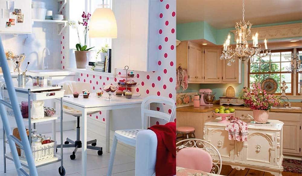 Узоры для ретро кухни горошек и цветочек идеи дизайна кухни