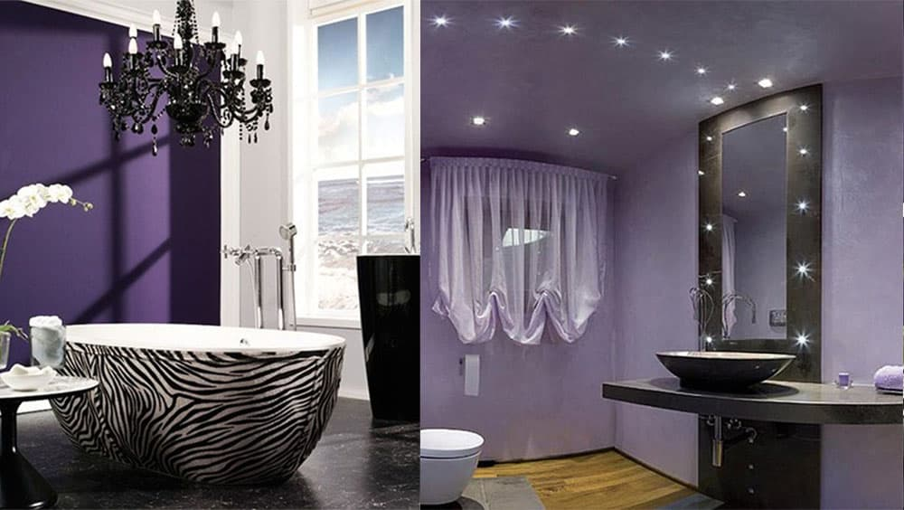 Интересные варианты фиолетовой ванной лавандовый и темно-фиолетовый Фиолетовая ванная