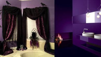 Трендовые стильные варианты 2018 Фиолетовая ванная
