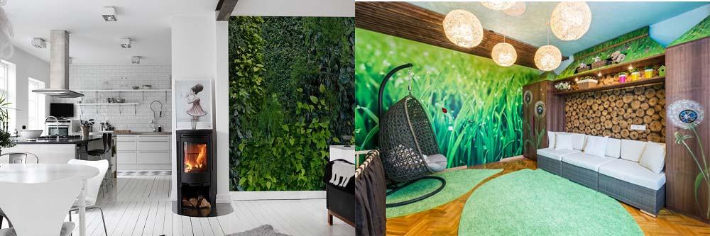 Пейзажи на фотообоях и трехмерных панелях эко гостиная -экостиль в интерьере квартиры фото