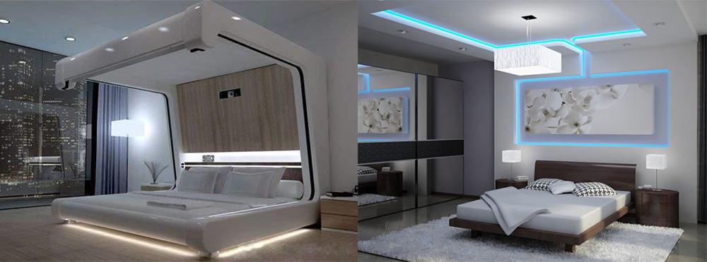 Хай-тек интересные варианты подсветки формы Белая спальня