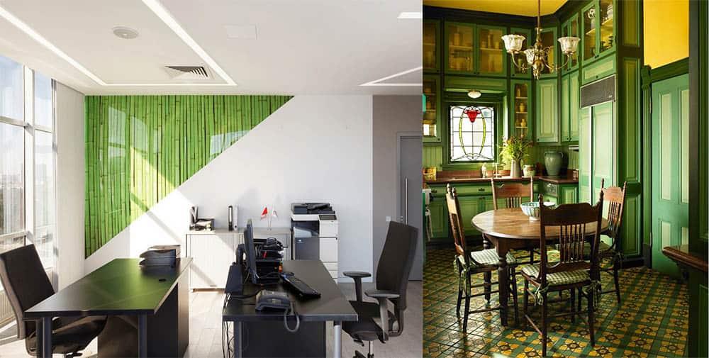 Зеленый офис в стиле хай-тек и викторианском стиле варианты применения и декора