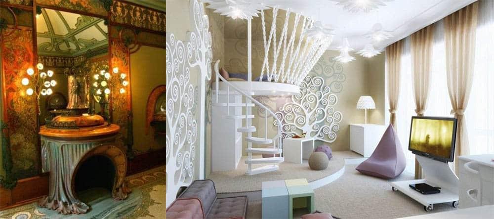 Цвета присущие стилю ар Нуво Гостиная в стиле модерн