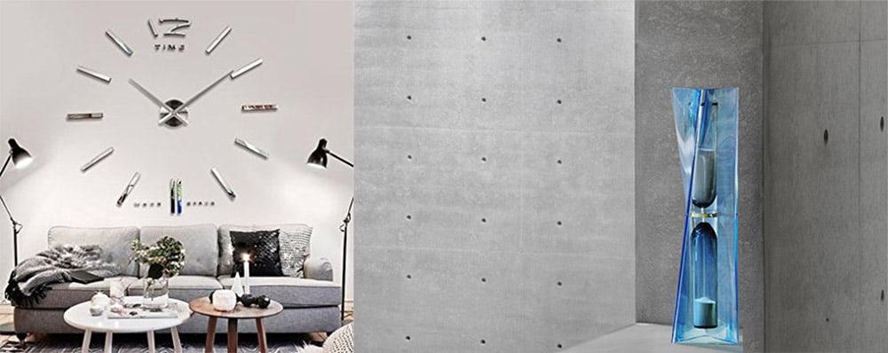 Необычные часы настенные и настольные песочные в стиле хай тек идеи дизайна гостиной