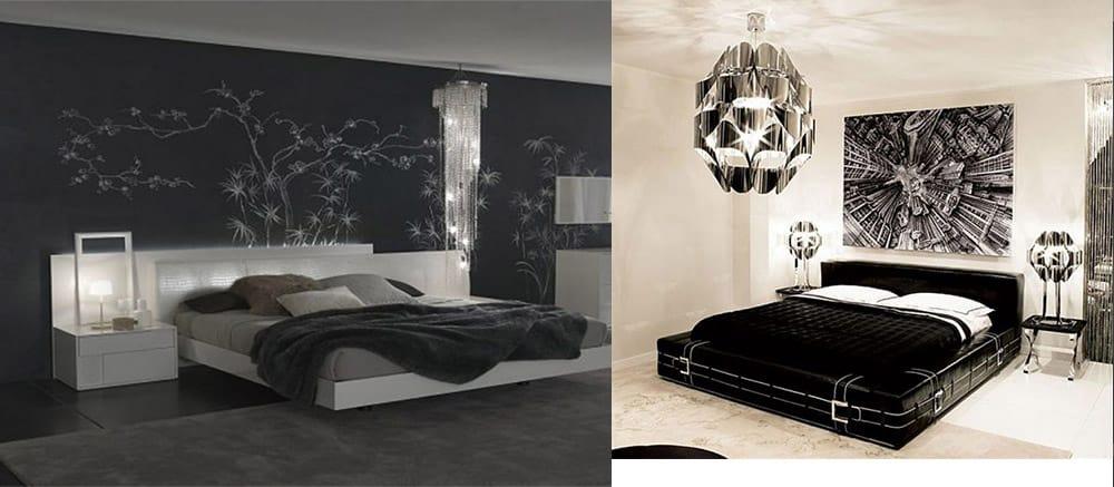 Черно-белые-спальни-разбавленные-металлическими-оттенками-Спальня 2018