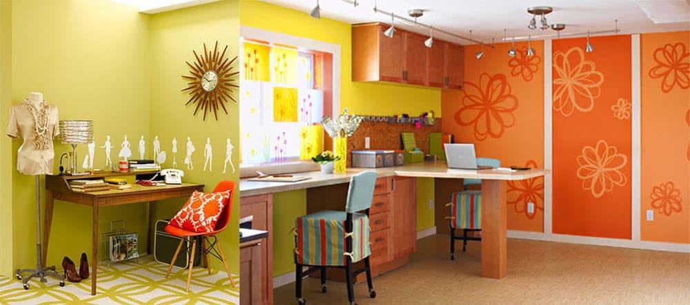 Яркие сочетания зеленого в домашнем офисе для оптимистов Дизайн интерьера офиса