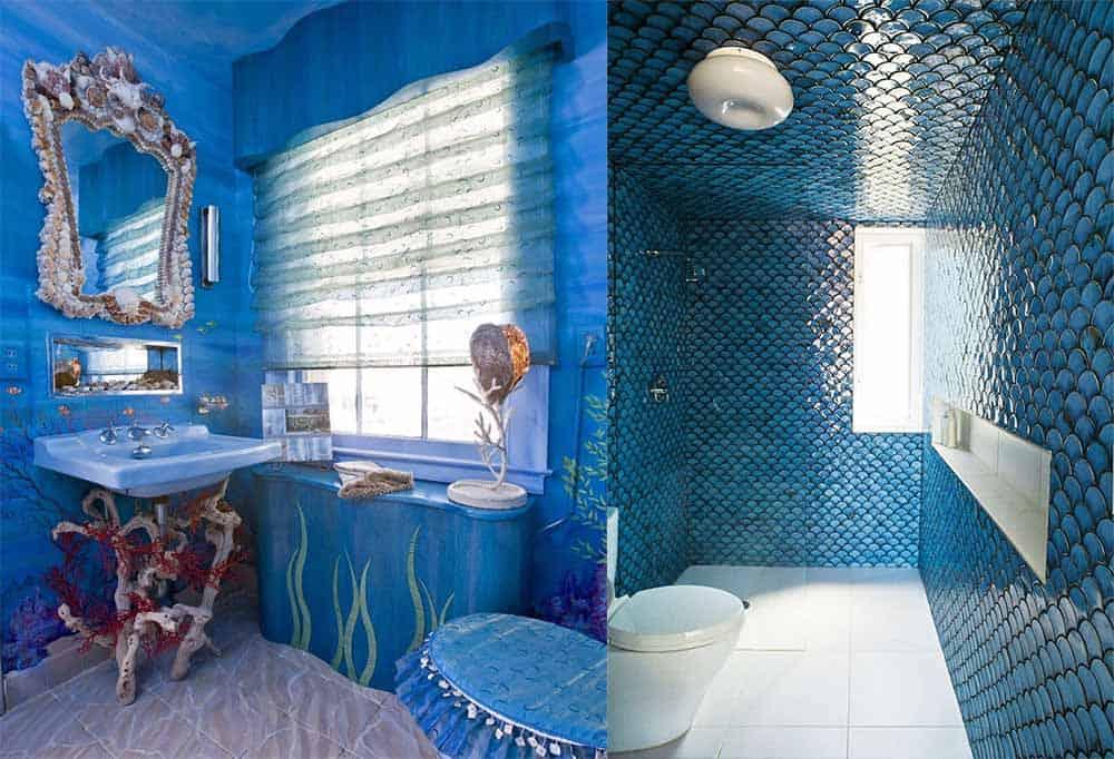 Варианты интересной ярко-голубой ванной Синяя ванная