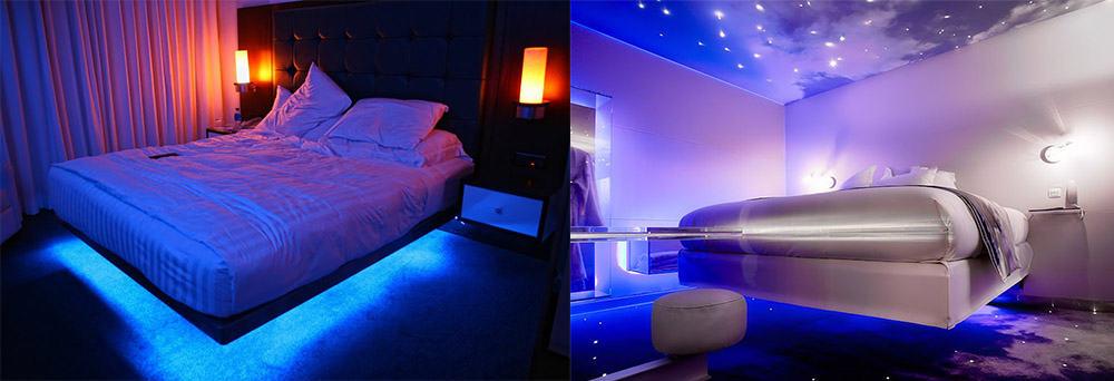 LED подсветка цветная для белой спальни интерьер спальной комнаты