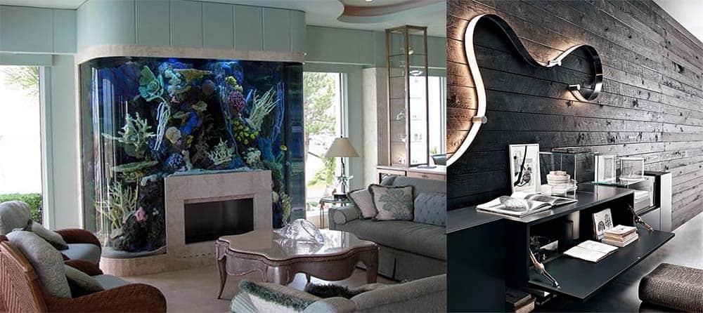 Аквариум и суперсовременный светильник с металлическим корпусом идеи интерьера гостиной