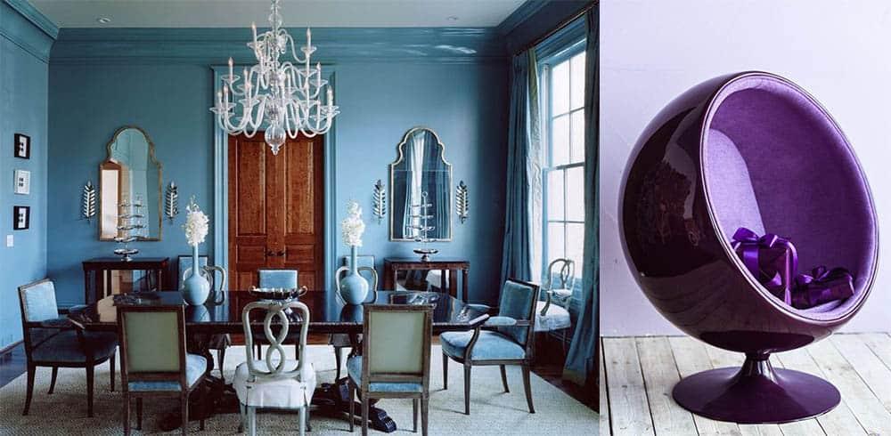 Антиквариат и ретро-футуристические кресла-шары идеи интерьера гостиной