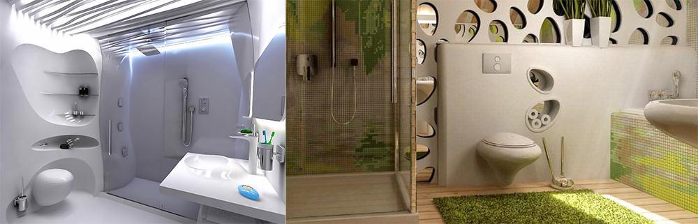 Модные направления бионика и эко-стиль Дизайн ванной комнаты с туалетом 2018