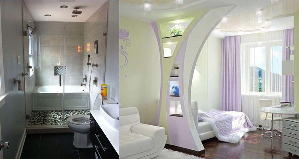 Ванная комната и креативное использование перегородки дизайн квартиры студии 2018