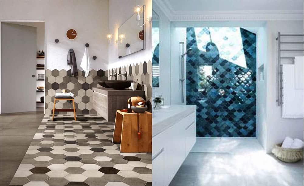 Восьмиугольная и чешуйчатая плитка Идеи интерьера ванной