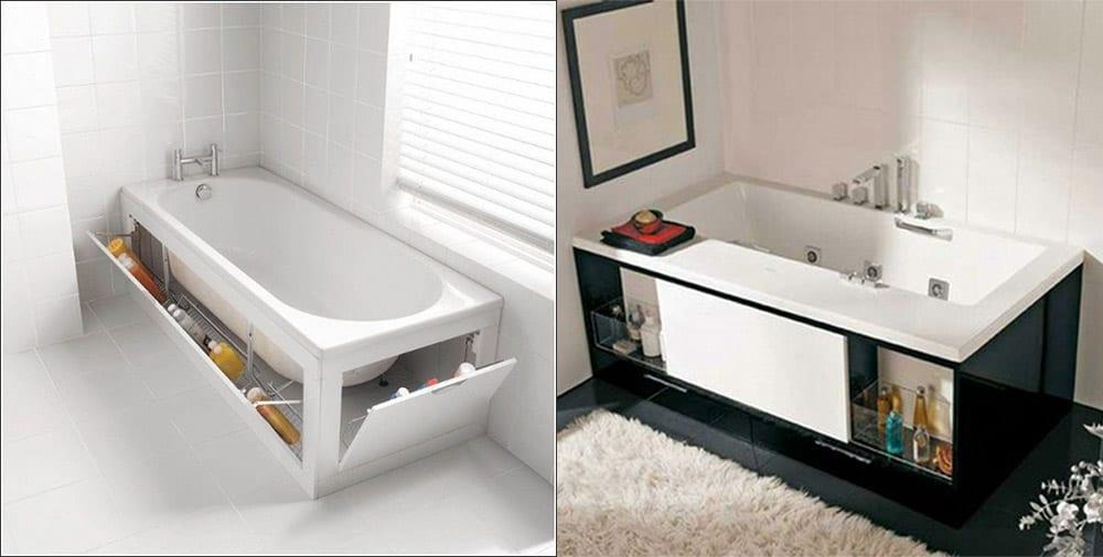 Выдвижные конструкции под ванной Дизайн маленькой ванной комнаты 2018