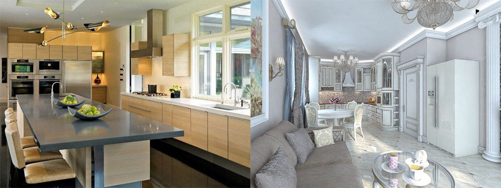Гарнитур с использованием пространства под подоконником идеи интерьера кухни