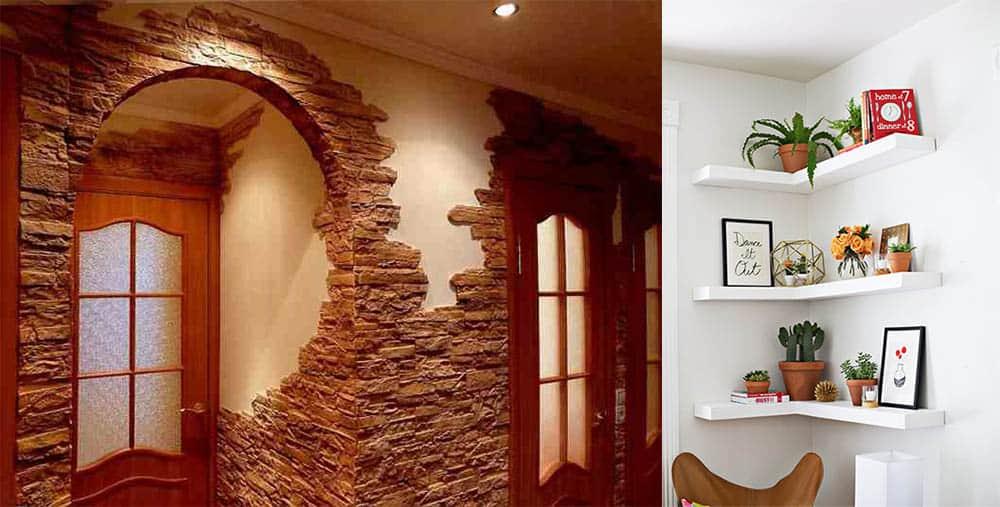 Декоративный камень и угловые полки интерьер квартиры хрущевки
