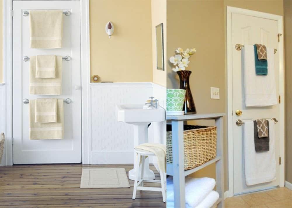 Держатели для полотенец на двери Дизайн маленькой ванной комнаты 2018