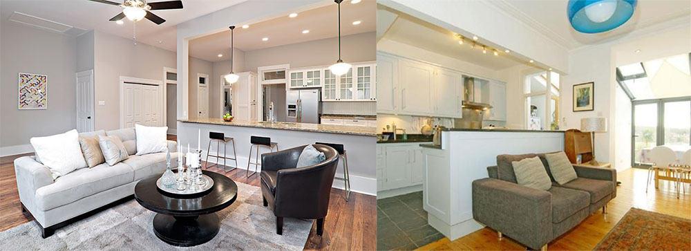 Правила безопасности при совмещении кухни и гостиной снос стен Дизайн кухни гостиной 2018