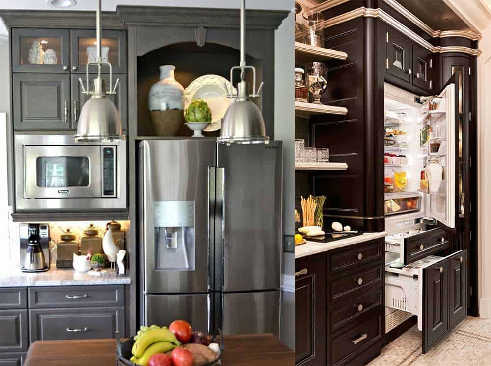 Стильные трендовые варианты расположения и дизайна холодильника на кухне Дизайн кухни с холодильником 2018