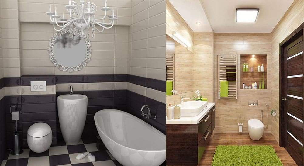 Интересные идеи и разные стили Дизайн маленькой ванной комнаты 2018