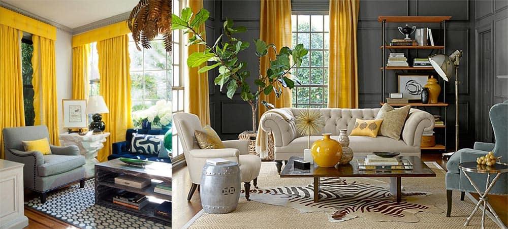 Желтые шторы идеальные партнеры серого интерьера Модные шторы для зала 2018