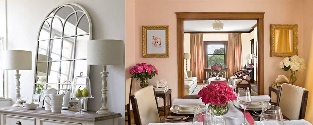 Зеркало перед окном для визуального расширения пространства комнаты интерьер однокомнатной квартиры